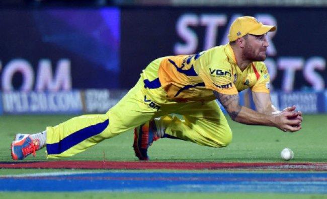Chennai Super Kings player Brendon Mccullum drops a catch of Delhi Daredevils batsman Kedar...