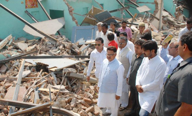 Chairman of National Commission for Scheduled Castes P L Punia visits the violence-hit village ...