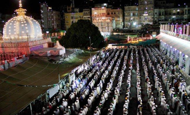 Pilgrims offer prayers at the shrine of Khwaja Muinuddin Chishti during the ongoing 802nd Urs ...