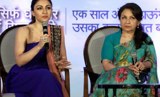 Soha Ali Khan with mother Sharmila Tagore at a promotional on Tuesday...