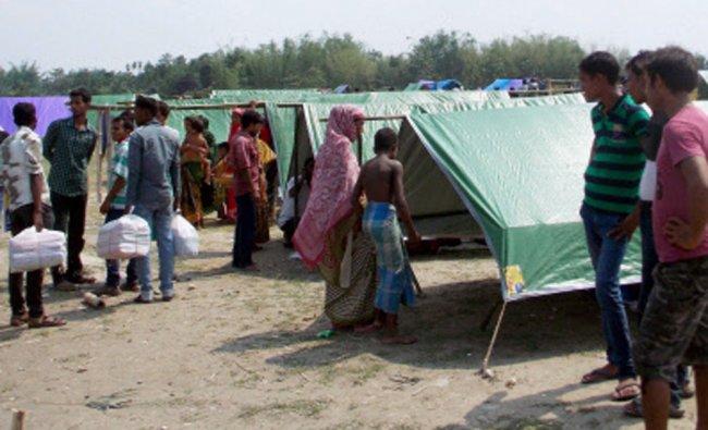 Violence affected people took shelter at a relief camp at Naryanguri Baksa, Assam after people...