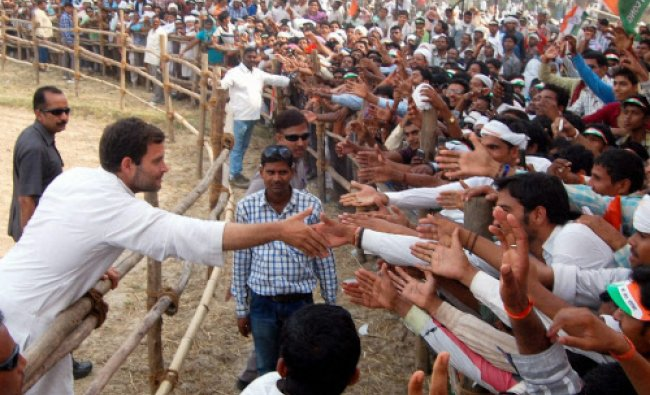 Congress Vice President Rahul Gandhi meeting the crowd during an election campaign rally...
