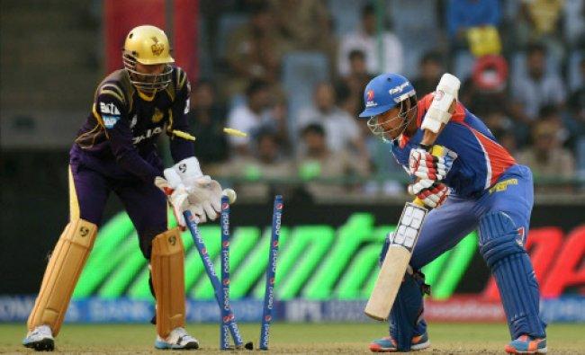 Delhi Daredevils\' Laxmi Ratan Shukla gets clean bowled against Kolkata Knight Riders during...