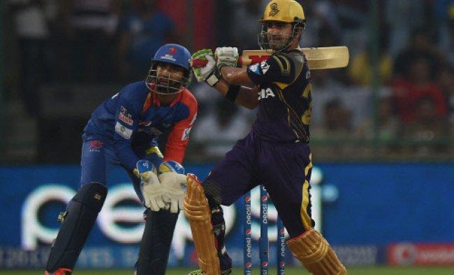 Kolkata Knight Riders\' Gautam Gambhir plays a shot against Delhi Daredevils during their IPL 7...