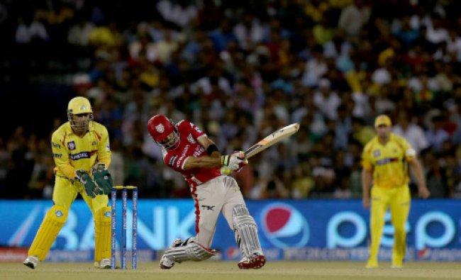 Kings XI Punjab\'s batsman Glen Maxwell hits a six against Chennai Super Kings during the IPL 7...