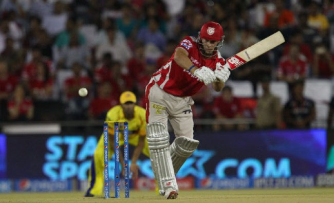 David Miller of the Kings X1 Punjab plays a shot against Chennai Super Kings during the IPL 7...