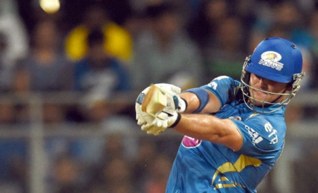 Corey Anderson of the Mumbai Indians bats during an IPL 7 match against Chennai Super Kings in...