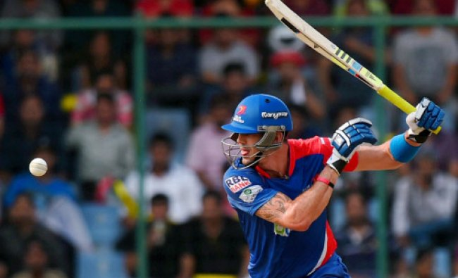Delhi Daredevils player Kevin Pieterson plays a shot during their IPL 7 match against Sunrisers...