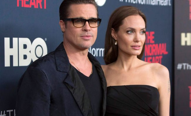 Actors Brad Pitt and Angelina Jolie attend the premiere of \'The Normal Heart\' in New York May...