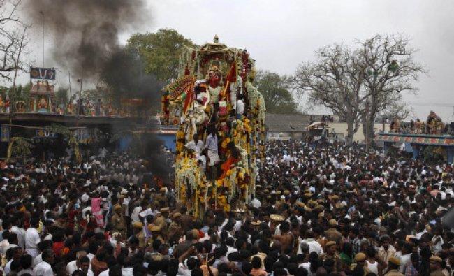 An idol of warrior god Aravan is taken around in a chariot during the annual eunuch festival...