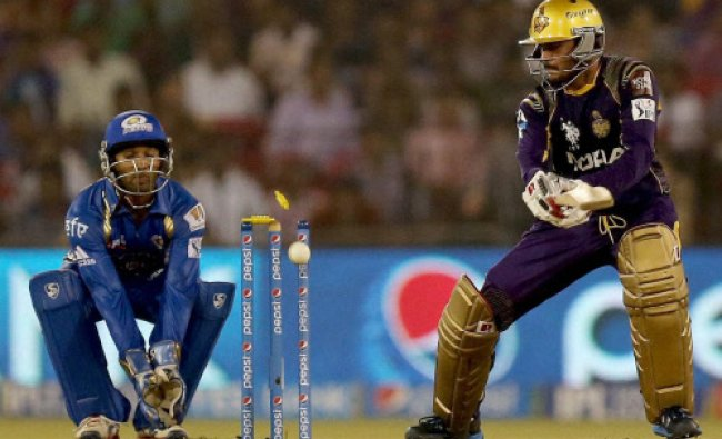 Manish Pandey is bowled by Harbajhan Singh during IPL 7 match between Kolkata Knight Riders...