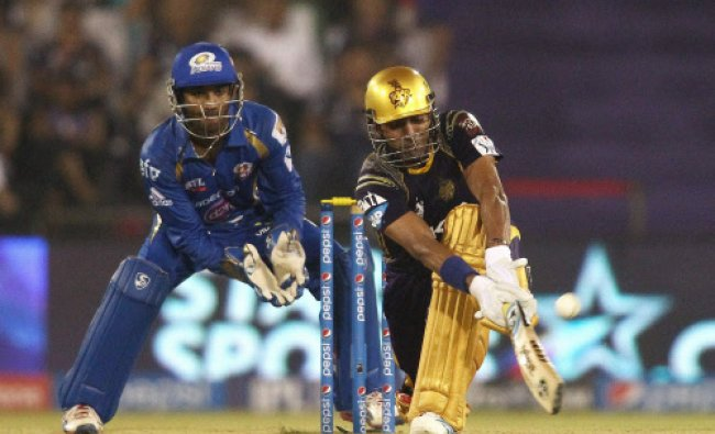 Robin Uthappa plays a shot during match 40 of the Pepsi Indian Premier League Season 2014...