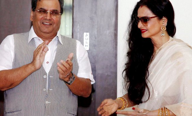 Bollywood actress Rekha and Director Subhash Ghai at Whisling Wood Institute in Mumbai ...