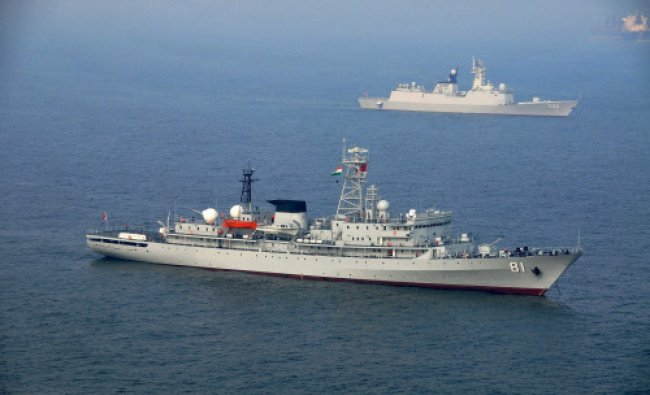 Two ships of the PLA Navy, Zhenghe and Weifang, on their arrival at Visakhapatnam...