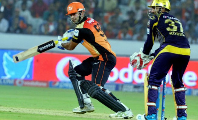 Irfan Pathan of Sunrisers Hyderabad plays a shot during an IPL 7 match against KKR...