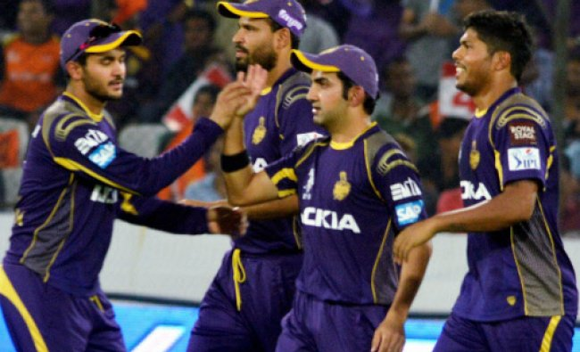KKR cricketers celebrate the wicket of S Dhawan of Sunrisers Hyderabad during their...