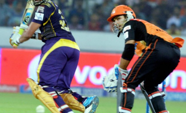Robin Uthappa of KKR plays a shot during an IPL 7 matcha against SRH in Hyderabad...