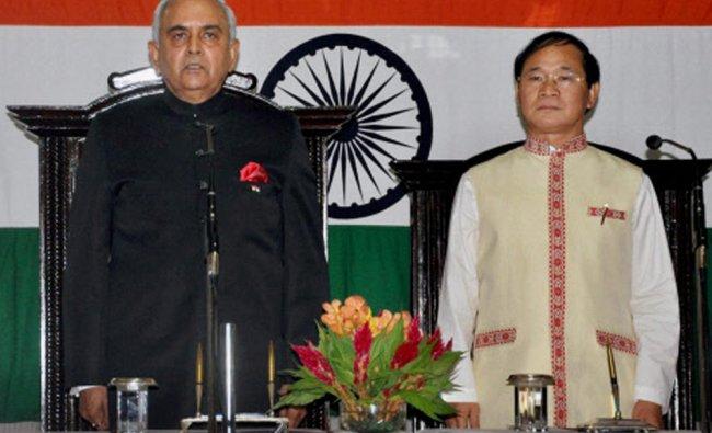 Nabam Tuki being sworn-in as the eighth Chief Minister of Arunachal Pradesh by Governor Lt Gen...