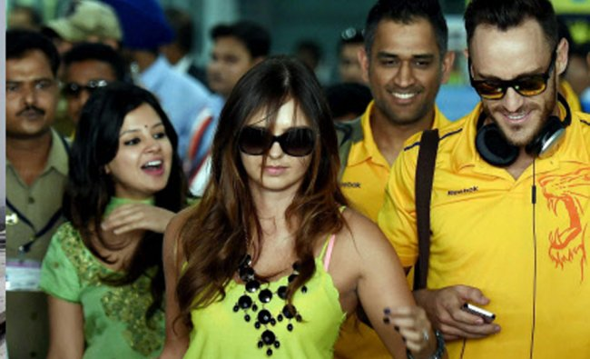Chennai Super Kings players arrive in Kolkata Airport on Monday for their next IPL match...