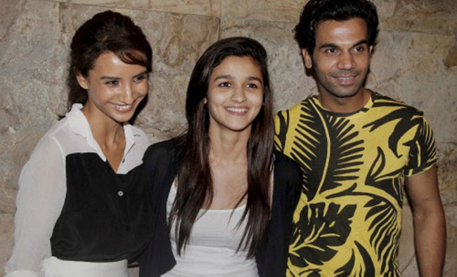Bollywood actors Rajkumar Rao, Alia Bhatt Patralekha during the screening of film Citylights...
