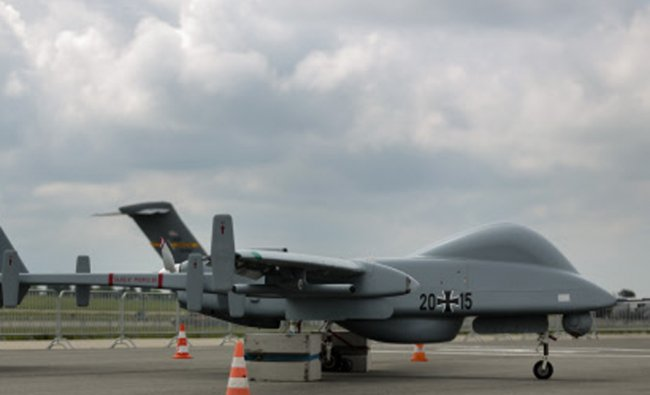 An unmanned aerial vehicle, also known as a drone, of Germany\'s armed forces Bundeswehr is...
