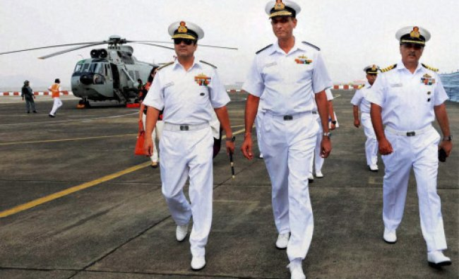 Admiral RK Dhowan, Chief of Naval Staff with Rear Admiral AR Karve, Chief of Staff, Western...