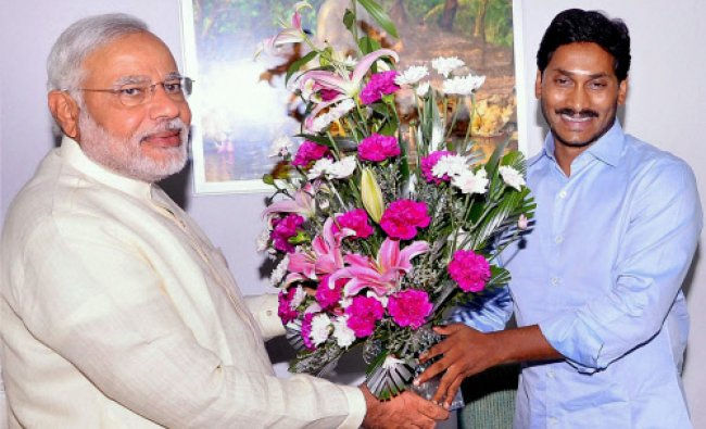 YSR Congress Party chief and MP Jagan Mohan Reddy greets the next Prime Minister Narendra...