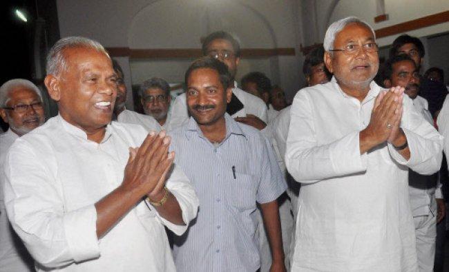 Former Bihar CM Nitish Kumar with Chief Minister-designate Jitanram Manjhi at the CM...