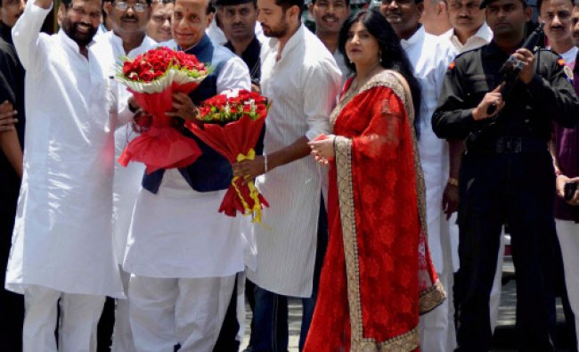 LJP President Ram Vilas Paswan and his wife along with their son Chirag Paswan meeting...