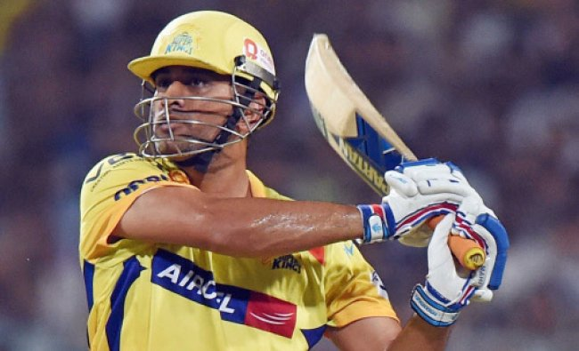 M S Dhoni plays a shot during IPL match againist KKR at Eden Garden in Kolkata...