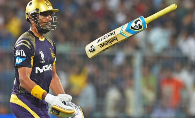 Robin Uthappa reacts after his dismissal against CSK at Eden Garden in Kolkata...