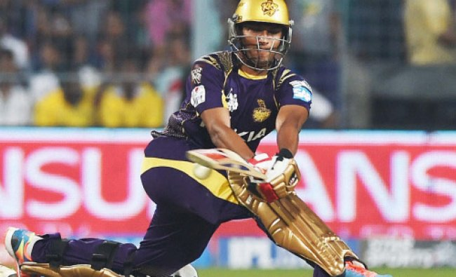 Shakib Al Hasan plays a shot during IPL Match against CSK at Eden Garden...