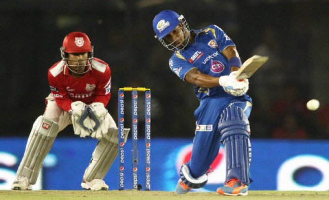 Lendl Simmons of the Mumbai Indians attempts to pull a delivery during an IPL 7 against ...