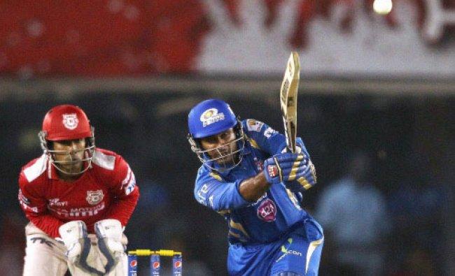 Ambati Rayudu of the Mumbai Indians plays a shot during an IPL 7 against the Kings XI Punjab...