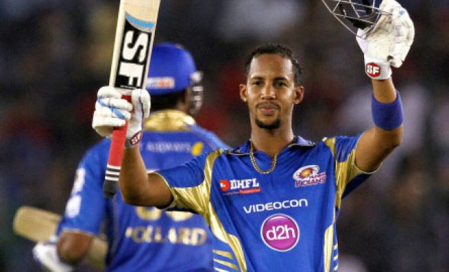 Lendl Simmons of the Mumbai Indians celebrate his century during during an IPL 7 against...