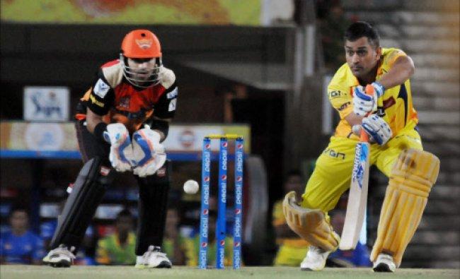 Mahendra Singh Dhoni captain of Chennai Super Kings plays a shot during an Indian Premier...
