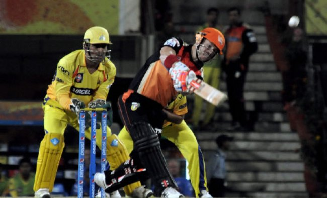 David Warner of the Sunrises Hyderabad plays a shot against Chennai Supper kings during...