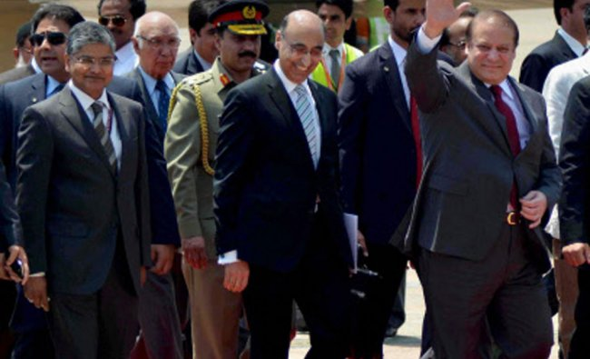 Pakistan\'s Prime Minister Nawaz Sharif arrives at ASF Palam airport to attend the swearing-in...