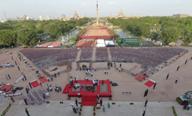 Preparations underway on the forecourt of the presidential palace for the scheduled swearing in...