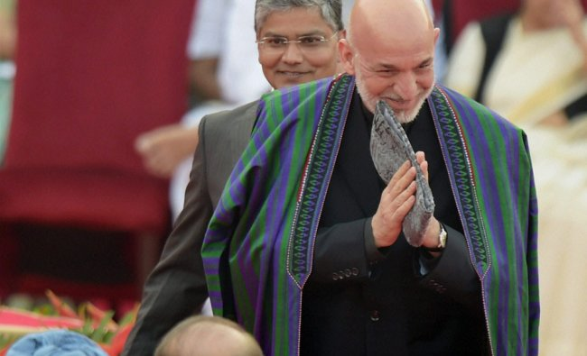 Afghanistan President Hamid Karzai at the swearing-in ceremony of the NDA government ...