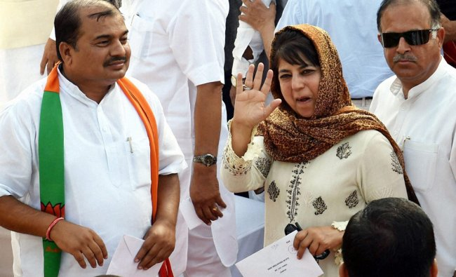 PDP President Mehbooba Mufti at the swearing-in ceremony of the NDA government ...