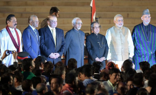 President Pranab Mukherjee and Prime Minister Narendra Modi with heads of SAARC countries ...