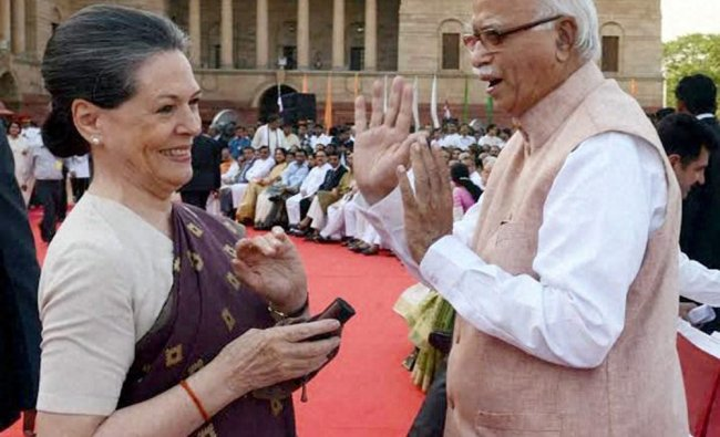 LK Advani and Congress President Sonia Gandhi at the swearing-in ceremony ...