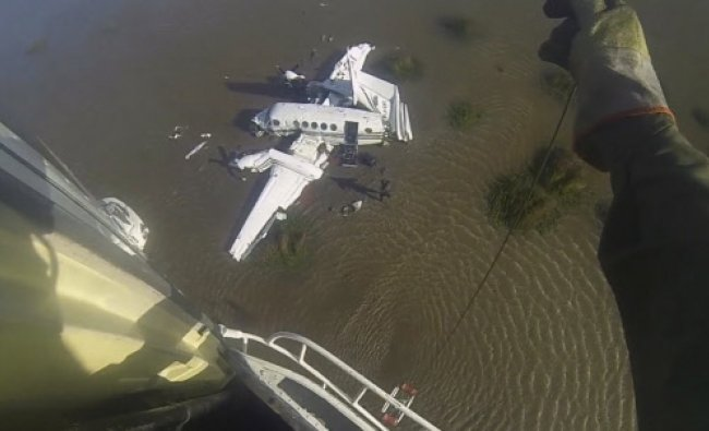 An overhead view of a private plane which took off from San Fernando, Argentina, en route to...
