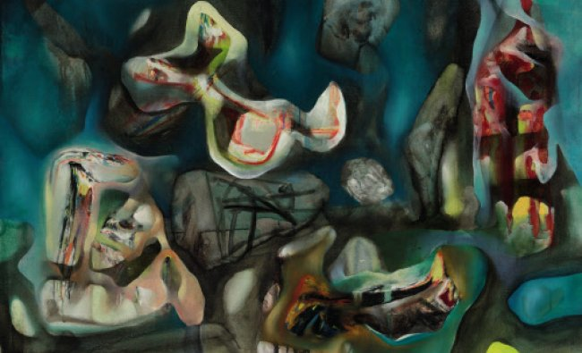 This undated image released by Sotheby\'s shows \'Morphologie Psychologique,\' a painting by Chilean...