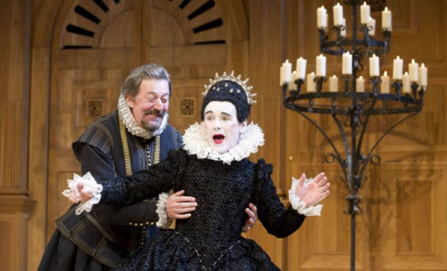 This undated theater image released by Boneau/Bryan-Brown shows Mark Rylance as Olivia, right...
