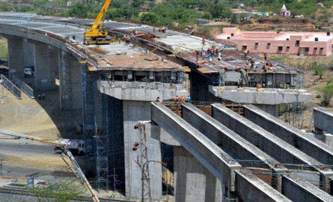 Work in progress at a high railway bridge at Beawar, Rajasthan...