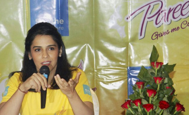 Saina Nehwal at a promotional event in Pune...