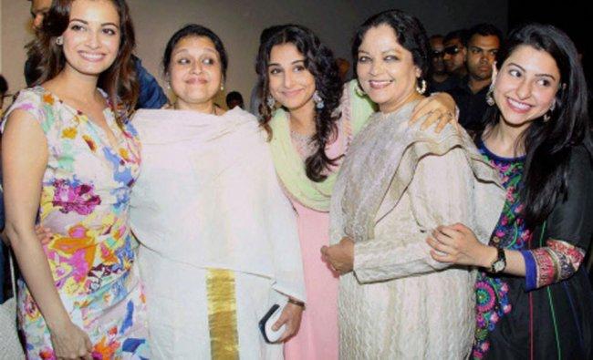 Supriya Pathak, Vidya Balan and Tanvi Azmi pose during the trailer launch of their forthcoming...