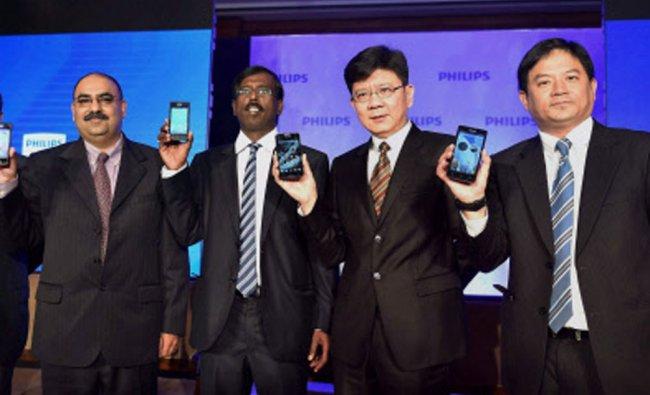 Philips officials launch a new range of smartphones in New Delhi...